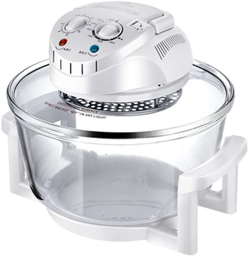 DYRABREST Air Fryer, Infrared Convection Oven Halogen Oven Countertop 12L Cooker Glass Bowl Healthy Low Fat Cooking Great for French Fries & Chips(White)
