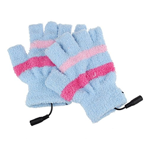 Striped Nylon Gloves (USB Heating Winter Hand Warm Striped Gloves Fingerless Warmer Mitten (Blue))
