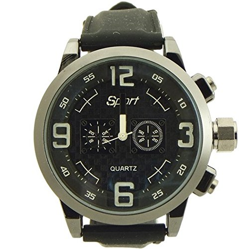 Sport watches for men rubber band black and gun metal tone -