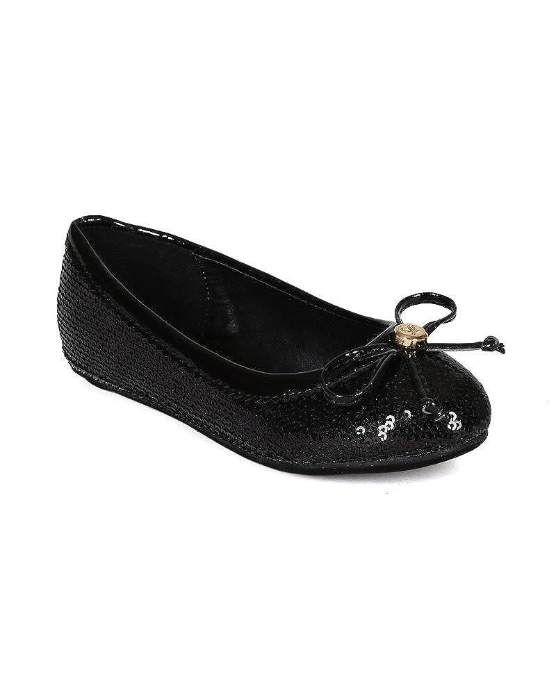 Fab Kicks Sequinned Round Toe Bow Tie Embellished Ballerina Flat Toddler//Little Girl//Big Girl CJ48 Black