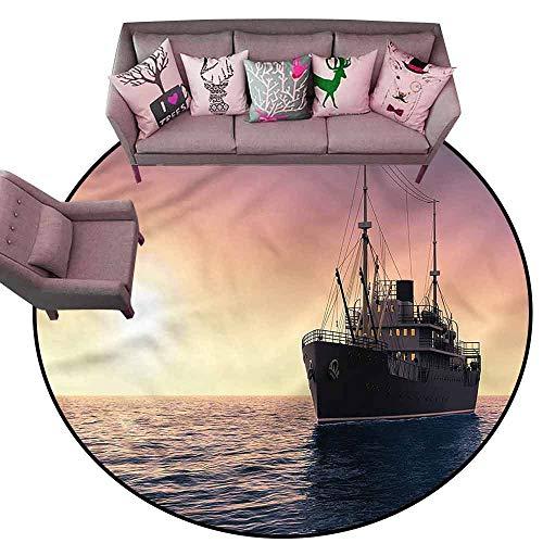 Bathroom Rug Kitchen Carpet Nautical,Loaded Cargo Boat at Sea Diameter 72