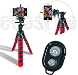 "Photo : Acuvar 12"" Inch Flexible Camera Tripod with Wrapable Disc Legs & Quick Release Plate + Universal Smartphone Mount + Bluetooth Remote Control for Smartphones"