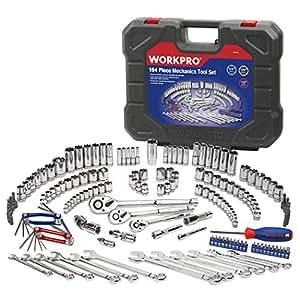 WORKPRO 164-piece Socket Set Mechanics Tool Kit with Case