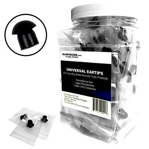 100 Pack of Black Rubber Eartips (Earbuds) for Two-Way Radio Acoustic Tube Surveillance Kits, Lapel Mics and Listen Only Earpieces by Earpieces