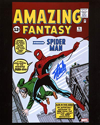 Stan Autographed 8x10 Photo - Stan Lee Amazing Fantasy 15 First Spiderman Signed/Autographed 8x10 Glossy Photo. Includes Fanexpo Certificate of Authenticity and Proof of signing. Entertainment Autograph Original.