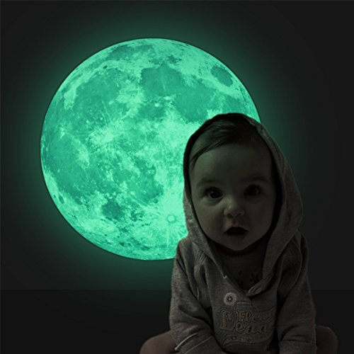COOFO Wall Stickers,Creative 30cm Glow Wall decals in the Dark Moon Night Luminous Wall Stickers Removable Adhesive Wall Decal art (green)