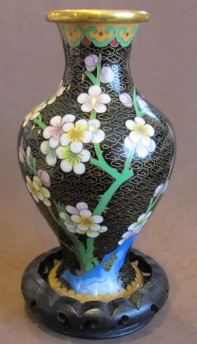 """Decorative Oriental Cloisonné VASE w WOOD STAND Vase w Stand Approx. 7-1/4"""" Tall"""