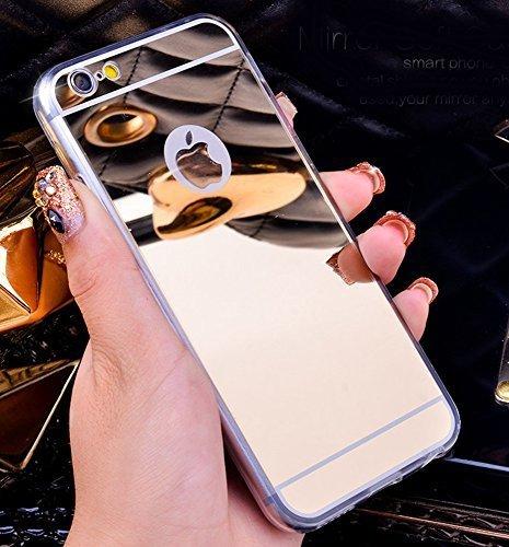 Bestbuy-24 Spiegel-case für handy smartphone iPhone-6 / iPhone-6S, glänzende Spiegel-Oberfläche mirror TPU Softcase Schale Hülle cover, Farbe silber