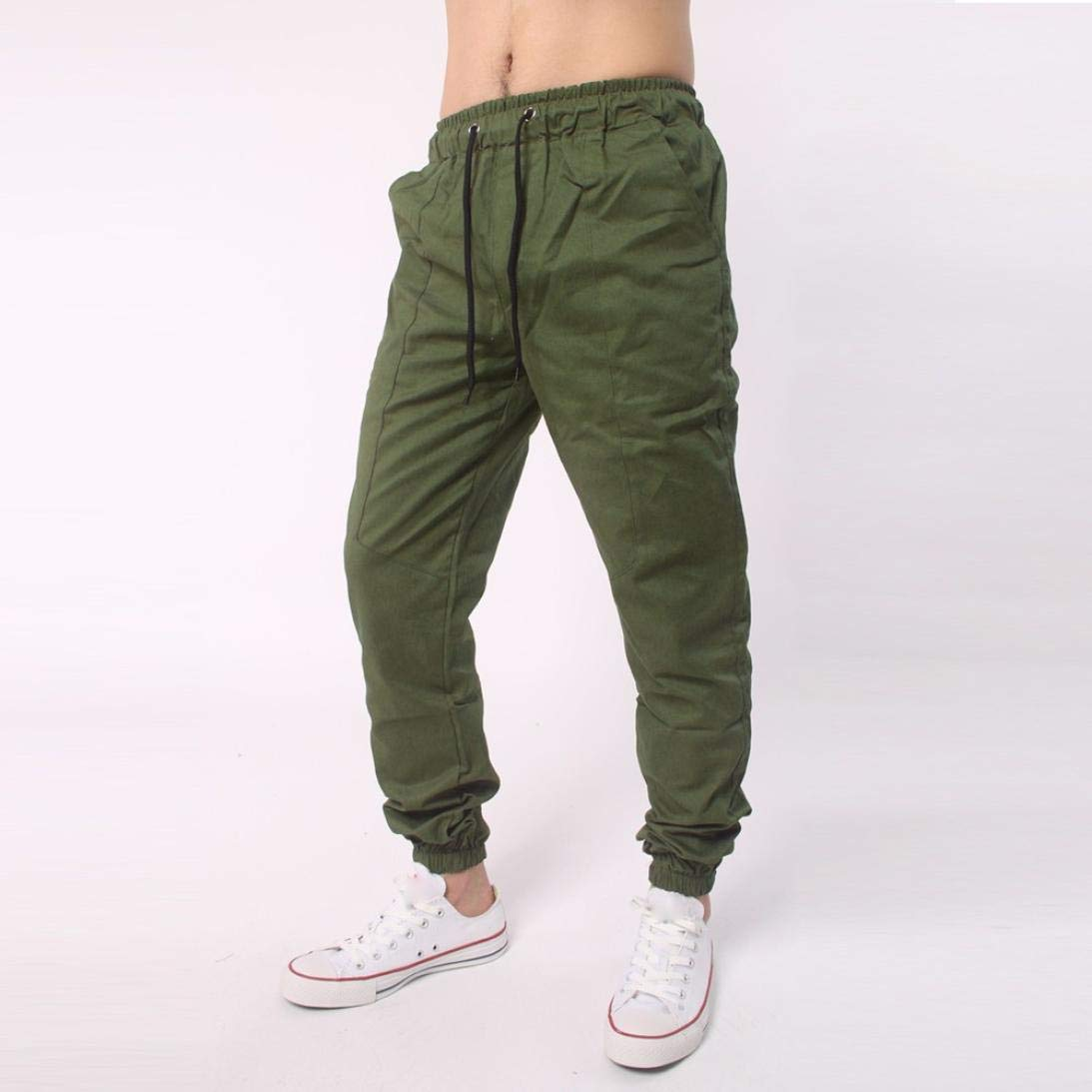 Realdo Clearance, Men Casual Slack Solid Harem Sweatpants Jogger Pant Sportwear Baggy Comfy (XX-Large,Army Green) by Realdo (Image #2)