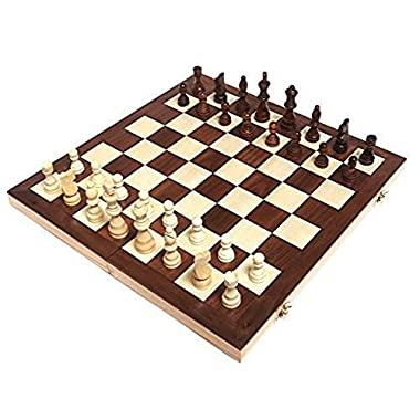 Chess Armory 15  Wooden Chess Set with Felted Game Board Interior for Storage