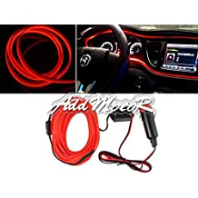 Addmotor 3M Electroluminescent Light El Wire String Glow Strobing Flexible Neon Light Wire EL Tape DC12V Inverter Cigarette Lighter Driver Powered For Car (Red)