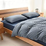 4 Piece Bedding Sets Navy Blue Stripe Geometric Modern Pattern Printed Duvet Cover Set Reversible Comforter Set 1 Flat Sheet 1 Duvet Cover and 2 Pillow Cases by YEHO Art Gallery (King Size)