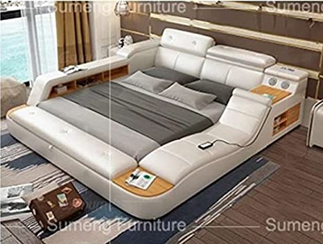 All In One Leather Double Bed With Speakers Storage Safe Perfect