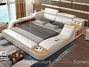 all in one leather double bed with speakers storage safe perfect relaxation n white. Black Bedroom Furniture Sets. Home Design Ideas