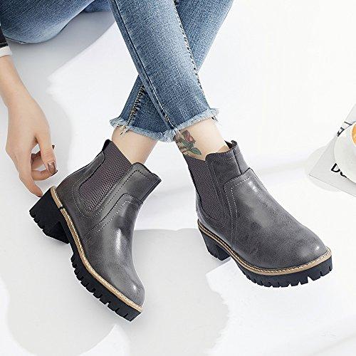 FUFU Damenschuhe PU Fashion Stiefel Herbst Winter Stiefel Booties / Stiefeletten mit für Casual Dress schwarz grau klobige Ferse Grau