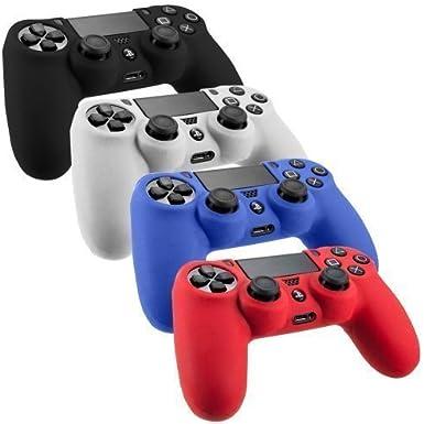 Lilly PS4 - Juego de 4 Protectores de Silicona Antideslizantes para Mando de Videojuegos Sony Playstation 4 (Azul, Rojo, Blanco, Negro): Amazon.es: Electrónica