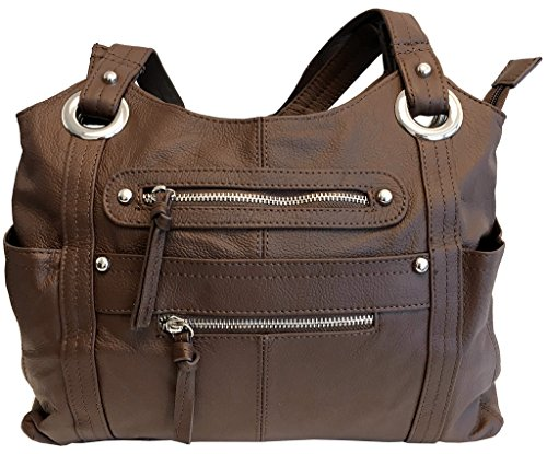 Leather Locking Concealment Purse - CCW Concealed Carry Gun Shoulder Bag, Brown