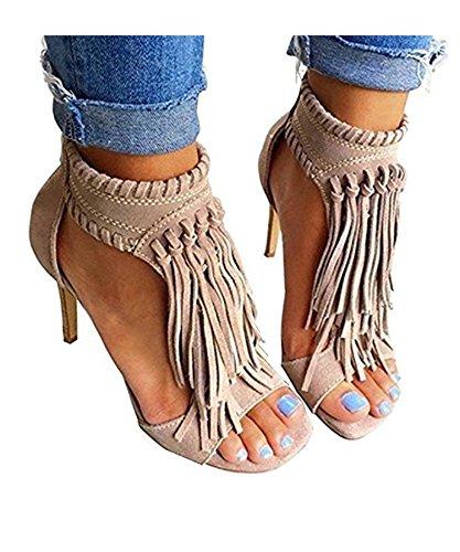 (Ru Sweet Womens Suede Tassels Thong Flat Sandals Flip Flops Fringe Shoes Apricot)