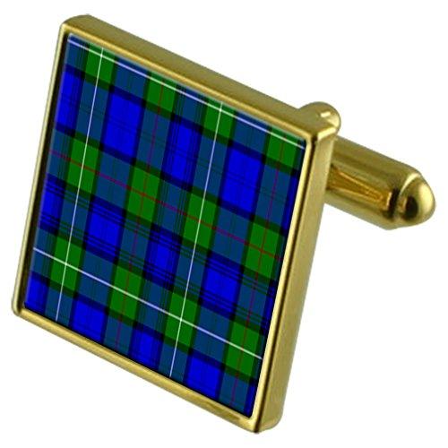 Boutons de manchette or Tartan clan Mackenzie en cas personnalisé gravé