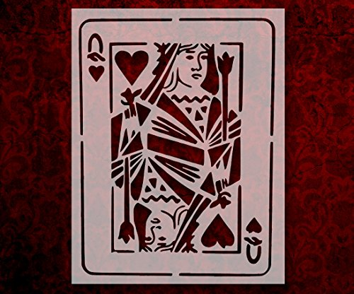 Playing Card Jack Queen King Ace Hearts Spades Clubs Diamonds 8.5 x 11 Inches Stencil (31)