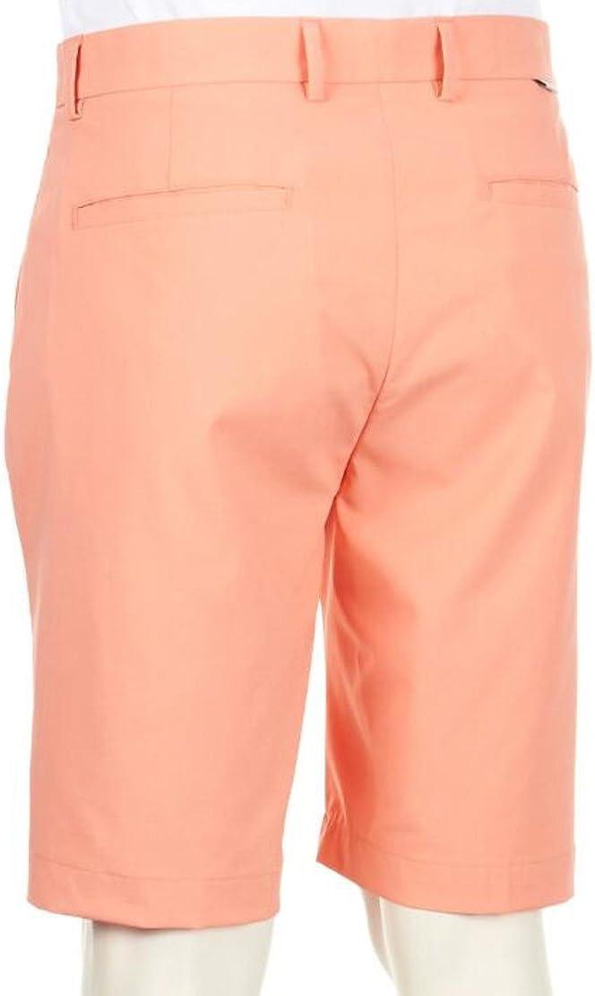 Peach Greg Norman Mens Flat-Front Tech Shorts