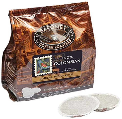Baronet Coffee 100% Colombian Coffee Pods Bag, 54 -
