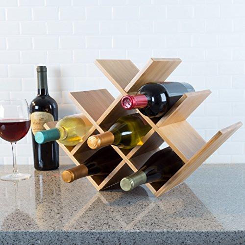 Classic Wine Bottle 8 Rack - Classic Cuisine 82-KIT1063 Bamboo 8 Rack-Space Saving Tabletop Free Standing Wine Bottle Holder for Kitchen, Bar, Dining Room-Modern Storage Shelf, Wood