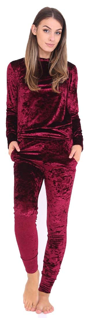 Crazy Girls Womens Ladies Velour Tracksuit Jogging Sweatshirt Top Bottom Joggers Two Piece Set Crushed Velvet Loungewear UK 6-16