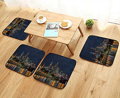 UHOO2018 Chair Cushions Skyline of Melbourne City and Princess Bridge Victoria Australia Non Slip Comfortable W25.5 x L25.5/4PCS Set