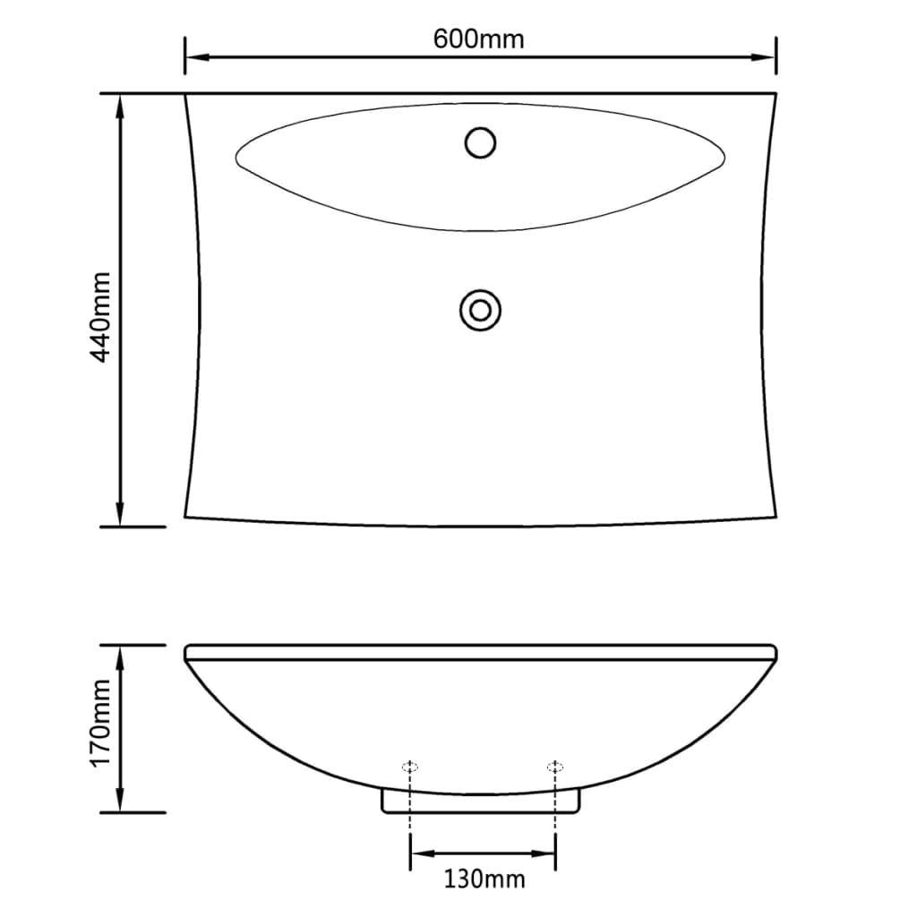 Daonanba Bassin en c/éramique /él/égant Lavabo rectangulaire pour Salle de Bain et Toilettes Noir