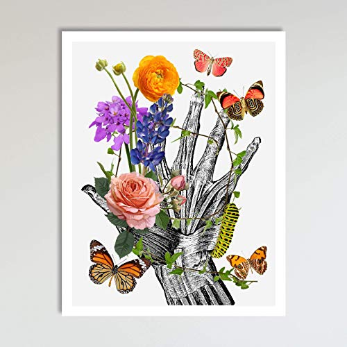 Hand With Flowers and Butterflies Abstract Anatomy and Flowers Floral Wall Art Decor Art Print Poster Modern Contemporary Boho Home Decor 11x14 Inches, Unframed