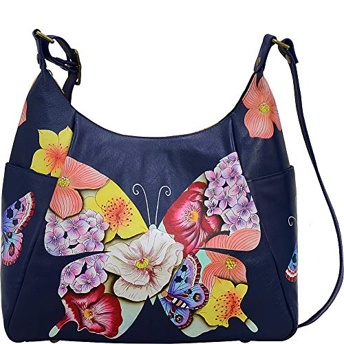 (Anna by Anuschka Hand Painted Leather Women's Large Multi Pocket HOBO, Butterfly Mosaic )