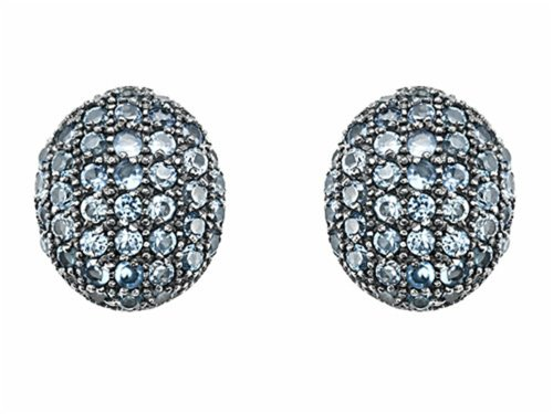 Oval Spinel Earrings - Star K Oval Puffed Earrings with Simulated Aquamarine Sterling Silver