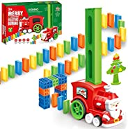 90 Pcs of Santa Claus Domino Electric Train Toy Set, Train Model with Lights Construction and Stacking Toys,Cr