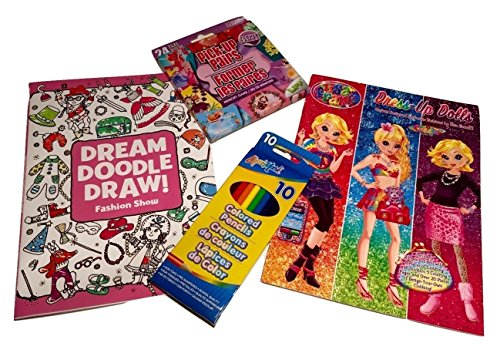 Fashion Dress-up Paper Dolls For Girls; Fashion Show Coloring & Activity Book, Sticker Doll Book w/ Lisa Frank Artwork Designs, Flower Fairies Pick-up Pairs Card Game, Colored Pencils; (Show Sticker Activity)