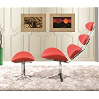 Fine Mod FMI1146-RED Crono Chair and Ottoman, Red