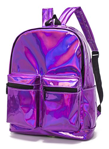 CYBERNOVA Fashion Laser PU Leather Backpack Holographic Rucksack Bling Glitter Casual Daypack, Laptop Bag, Shoulder bag Handbag - Case Sunglasses Zip With Pu