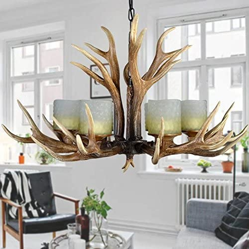 Antlers Vintage Style Resin 6 Light Chandelier