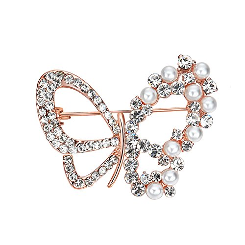 Butterfly Crystal Rhinestones Brooch Pin Fashion Girl Jewelry Faux Pearl Bead Brooches - Pearl Butterfly Brooch