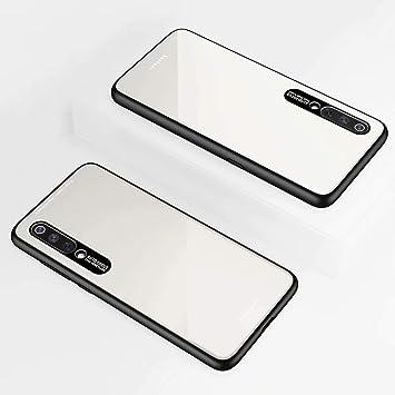 DYGG Compatible con Funda para Xiaomi mi 9, Estuche Carcasa Forro Ultra Delgada TPU Parachoques, Trasera de Vidrio Templado - Blanco