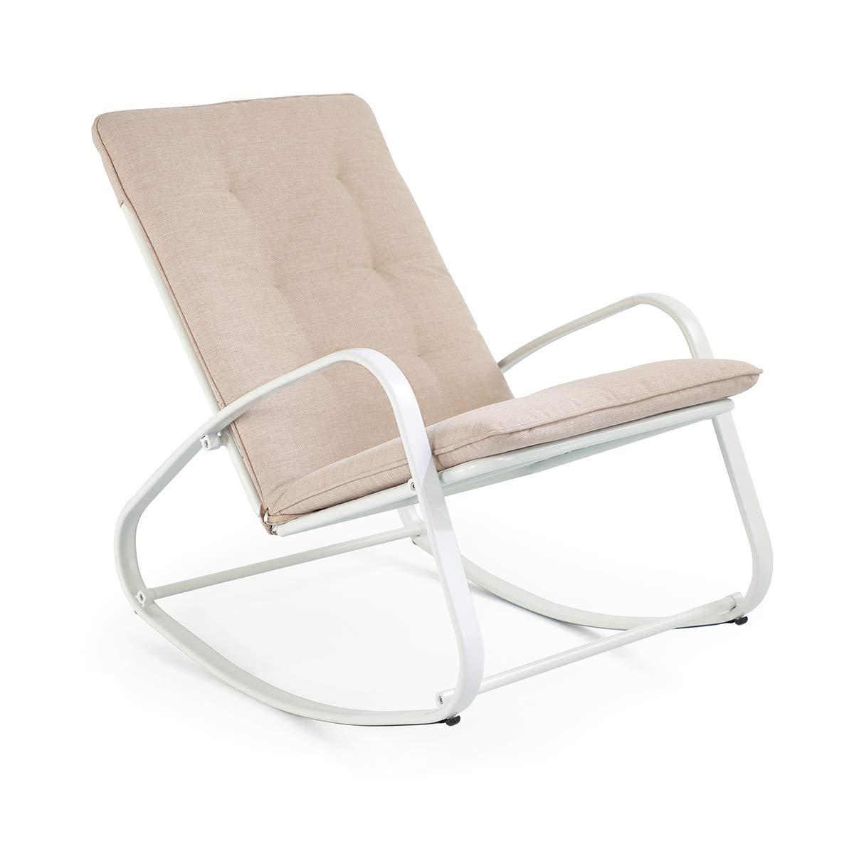 SUNDO Outdoor Schaukelstuhl, Schwingsessel, Schaukelliege mit Kissen, Gepolsterter Relax-Sessel, Gartenstuhl mit Armlehne, Gestell aus Stahl (Weiß) Bild