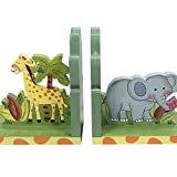 Fantasy Fields - Sunny Safari Animals Thematic Set of 2 Wooden Bookends for Kids | Imagination Inspiring Hand Crafted & Hand Painted Details   Non-Toxic, Lead Free Water-based Paint