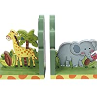 Fantasy Fields - Sunny Safari Animals Thematic Set of 2 Wooden Bookends for K...