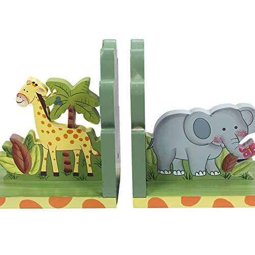 - Fantasy Fields - Sunny Safari Animals Thematic Set of 2 Wooden Bookends for Kids | Imagination Inspiring Hand Crafted & Hand Painted Details   Non-Toxic, Lead Free Water-based Paint