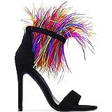 Cape Robbin Yuki-7 Black Feather Ankle Cuff Open Stiletto Heeled Sandal Pumps