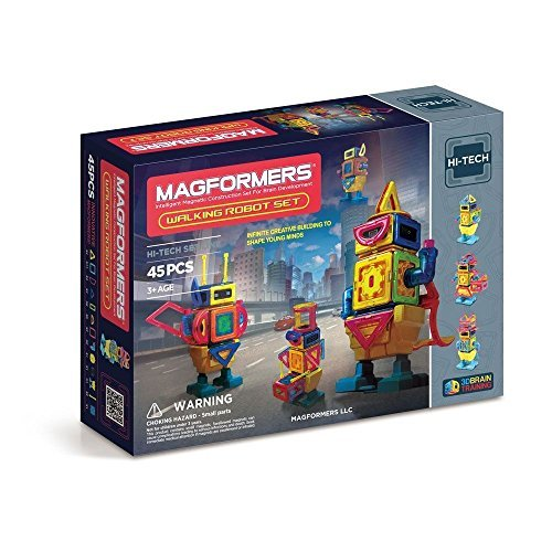 Magformers Magnetic Building Set Featuring Walking Robot 45-Piece, Multi-Colored, Great for Brain Development