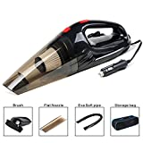 Car Vacuum Cleaner High Power 12V 120W Portable Wet Dry Strong Suction Handheld Automotive In Car Vacuum Plugs into Cigarette Lighter with Carrying Bag (Black, 5M/16.4FT)