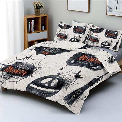 Duplex Print Duvet Cover Set Full Size,Halloween Symbols Happy Holiday Witch Lives Here Broomstick Spider Web DecorativeDecorative 3 Piece Bedding Set with 2 Pillow Sham,Black White,Best Gift For Kids