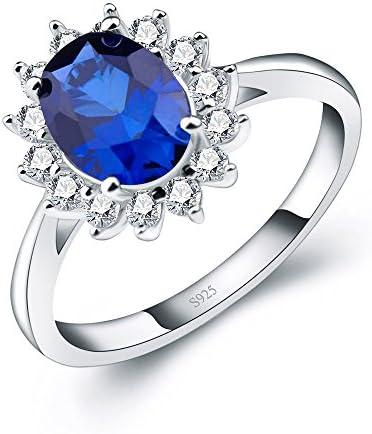 2.5ct キラキラ 誕生石 ウエディング 銀 スターリングシルバー 925 レディース リング 人工 ブルーサファイア ダイアナ妃 婚約指輪