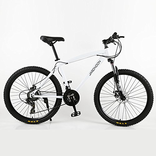 26×18大型フレームMTB自転車、21/27スピードマウンテンバイク、ダブルディスクブレーキ、ロック可能サスペンションフォーク B07BK41VVH 27 速|白 白 27 速